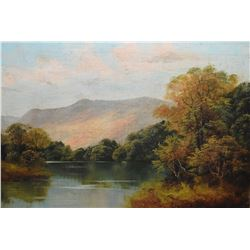 """Framed antique oil on canvas painting of a mountain lake scene signed A. Cox, 14"""" x 20"""""""