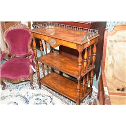 Modern matched grain mahogany three tier open shelf with single drawer and attached cast galley