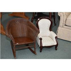 Two child's chairs including Reproduction Victorian parlour chair and a wicker rocking chair