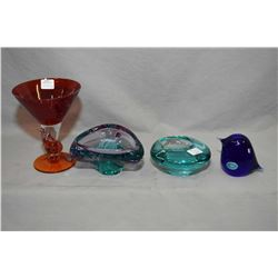 Four pieces of brand new Jewellery store inventory art glass including new Polish hand made Arabeska