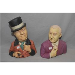"""Two Enesco chalkware busts by Norman Maurer including C.W. Fields 15"""" in height and one of the Stoog"""