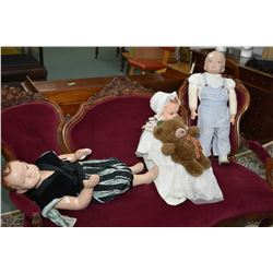 Three vintage child mannequins including little boy, baby and toddler