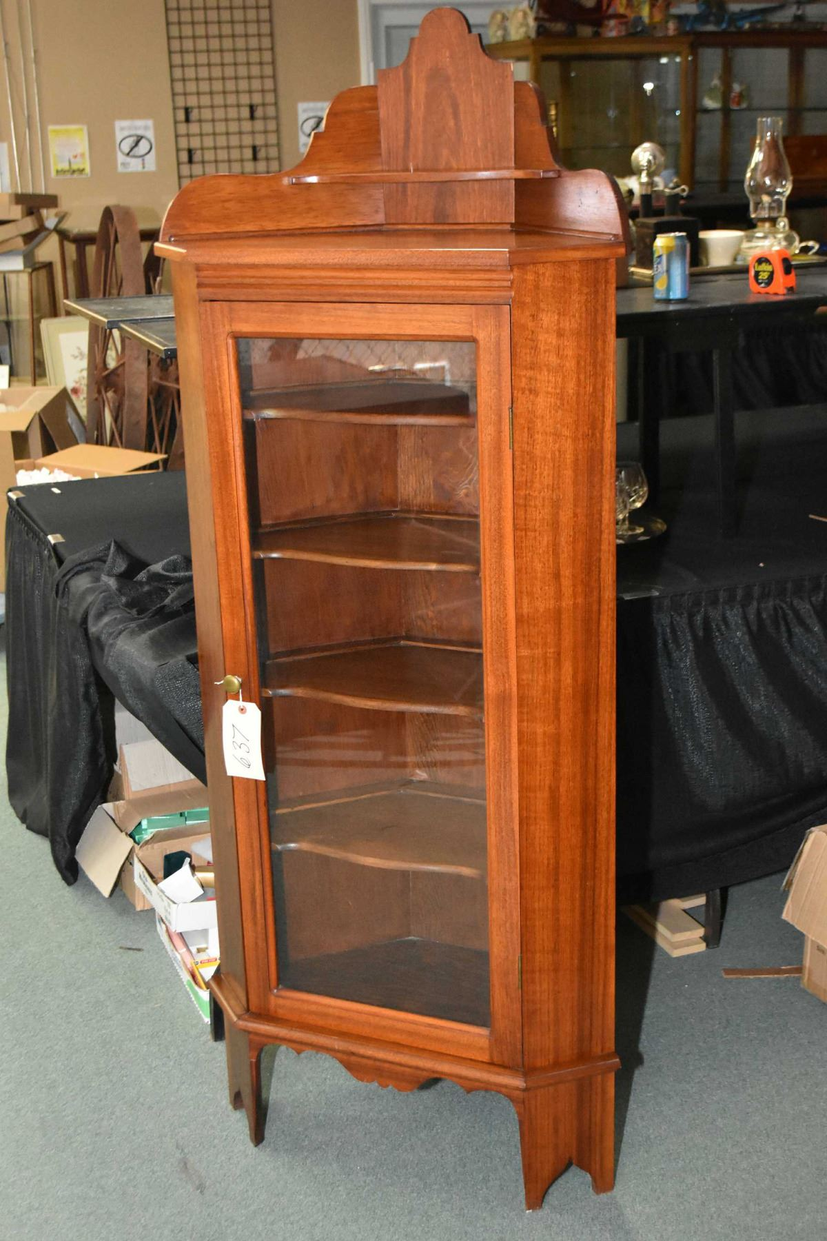 Image 1 : Vintage single door mahogany corner display cabinet with small  display shelf on backboard - Vintage Single Door Mahogany Corner Display Cabinet With Small