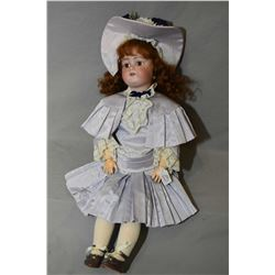 """Antique J.D Kestner 168 German doll with bisque head, open mouth and composition body, 21"""" in height"""