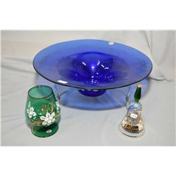 """Brand new Jewellery store inventory hand made in Spain blue glass bowl on metal stand 15"""" in diamete"""