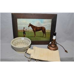 Framed tin printed horse picture, vintage lamp and a vintage heating pad and a vintage jelly mould