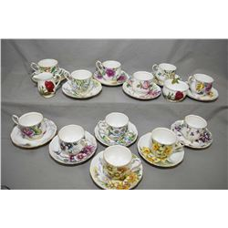 """Twelve Royal Albert """"Flowers of the Month"""" tea cups and saucers plus Royal Standard """"English Rose"""" c"""