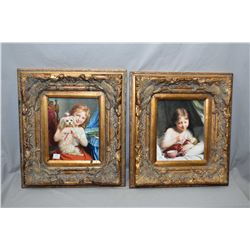 Pair of gilt framed Victorian style prints including girl with small dog and a girl feeding her doll