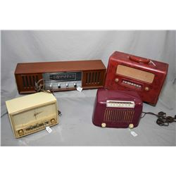 Four vintage tabletop radios including two Addison radios including a model #16, a Telechron by West