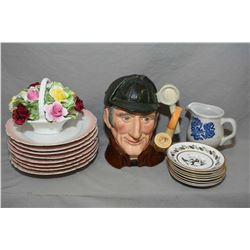 """Selection of porcelain collectibles including Royal Doulton character jug """"The Sleuth"""" DN6631, a Roy"""