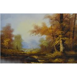 """Framed oil on canvas painting of a autumn lake scene signed by artist Cantrell, 24"""" X 36"""""""