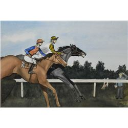 "Framed original watercolour of two jockeys and their horse mid race signed by artist, 14"" X 20"""