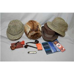 "Selection of gent's vintage hats including R.C.M.P 100% muskrat hat, an ""Oilman"" suede hat made by J"