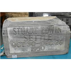 "Small engraved granite headstone, 8"" in height and 14"" in width X 4"" in depth, perfect for authentic"