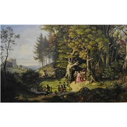 Framed acrylic on canvas painting of an 18th century wedding scene initialled by artist P.R.I., 24""