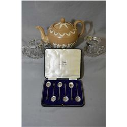 Vintage English Copeland tea pot, a set of six silver coffee spoon and a set of Birks crystal cream