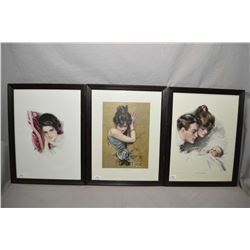 "Four vintage framed prints including ""the Kings of Hearts"", ""Her Future"" and two untitled"