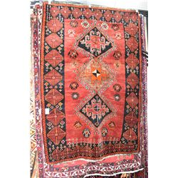 100% wool area carpet with triple medallion, wide border, red background, accented in dark green, ru