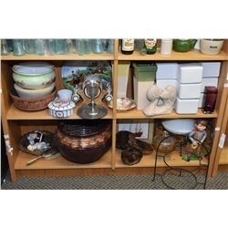 Two shelf lots of vintage collectibles including clay pots, glazed pottery planter, chintz dish, ste