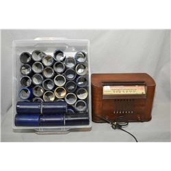 "Wooden table top ""Standard Police Radio"", model 0526-E Superheterodyne made by Aviation Corp. and a"