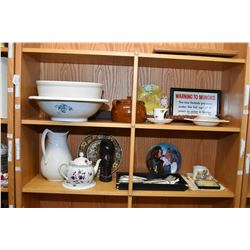 Two shelf lots of vintage collectibles including washbowl, jug, small pottery bean pot, teapot, flat