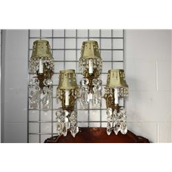 Four matching electric wall sconces with hanging lustres and shades