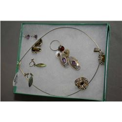 Selection of silver jewellery including sterling amethyst earrings, sterling necklace, earring and r