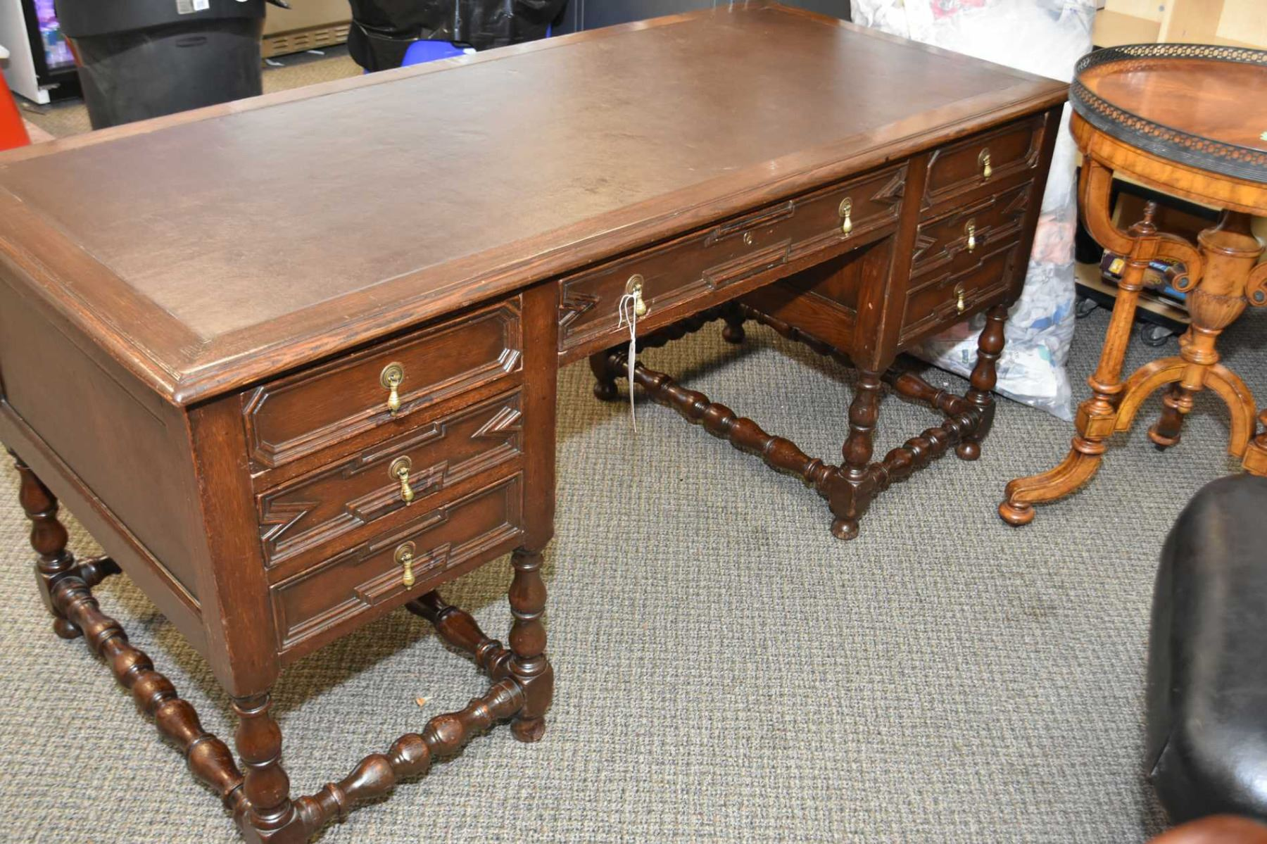 Antique Oak Free Standing Double Pedestal Leather Topped Office Desk With  Faux Drawers To Simulate P