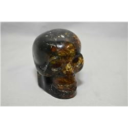 """Hand carved natural amber skull, 2 1/2"""" in height"""