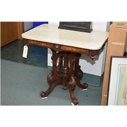 Victorian burl walnut center pedestal parlour table with marble top, note marble top has been broken