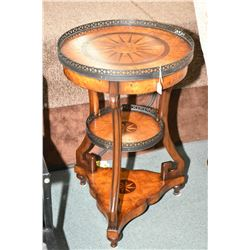 Quality modern three tier matched grain burl walnut occasional table with metal galley