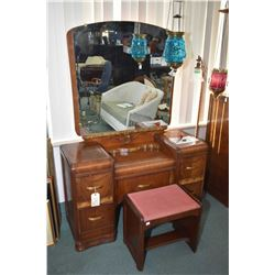 Walnut waterfall four drawer highboy and a non-matching walnut waterfall drop vanity with attached m