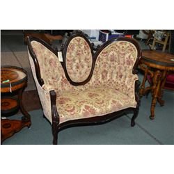 Mid 20th century Victorian style heavy brocade cameo back settee with carved show wood