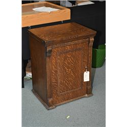 Antique Franklin treadle sewing machine in fully enclosed quarter cut oak cabinet, appears to be ori