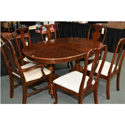 Modern dining room table with one insert leaf and six chairs, note chairs comprise three matching, t
