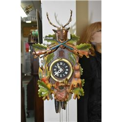German made hunt scene Black Forest cuckoo clock working at time of cataloguing