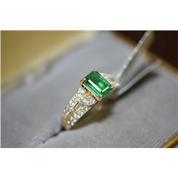 Ladies brand new 18kt yellow gold, emerald and diamond ring set with 1.24ct natural emerald gemstone