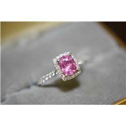 Ladies brand new platinum, pink sapphire and diamond ring set with 2.15ct cushion shaped natural pin