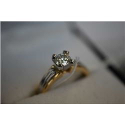 Ladies 14kt yellow and white gold diamond solitaire ring set with .54ct brilliant white diamond. Ret