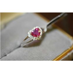 Ladies brand new platinum, ruby and diamond ring set with 1.03ct heart shaped natural ruby gemstone,