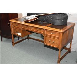 Top quality semi-contemporary leather topped oak desk made by Hekman