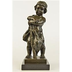 Novak Children With Gun Bronze Sculpture on marble base Statue