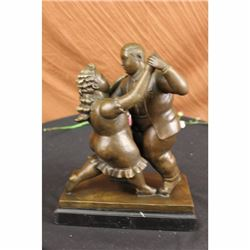 Dancing Couple Bronze Sculpture on Marble Base Statue