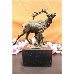 Male Deer in Forest Stag Bronze Statue