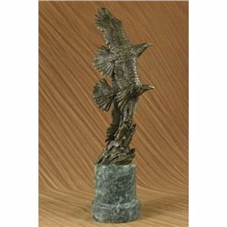 Very Large Two Flying Eagle Bronze Sculpture on Marble Base Figurine