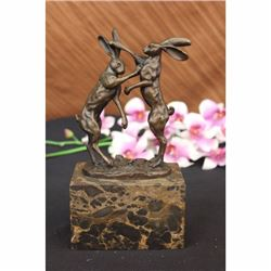 Two Hares Boxing Vienna Bronze Sculpture