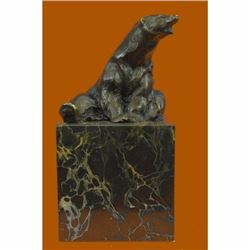 Stylish Polar Bear Bronze Sculpture on Marble Base Figurine
