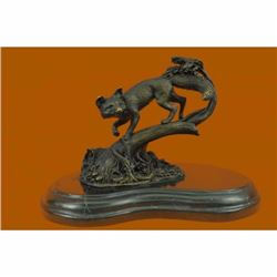 Fox Wild Animal Bronze Statue on Marble Base Sculpture