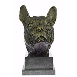 Man Best Friend French Bulldog Bronze Sculpture on Marble Base Statue