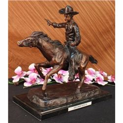 Cowboy Charges Bronze Sculpture on Marble Base Statue
